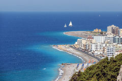 Rhodes Shore View. A beautiful panorama of Rhodes island Grece royalty free stock images