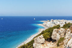 Rhodes Shore View. A beautiful panorama of Rhodes island Grece stock image