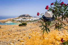 Rhodes straw hat on sea coast Royalty Free Stock Photo