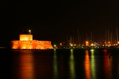 Rhodes Tower of St. Nicholas, Greece Royalty Free Stock Photos