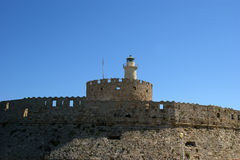 Rhodes Tower of St. Nicholas, Greece Stock Photo