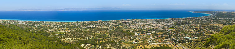 Rhodes town and bay panorama Stock Photo
