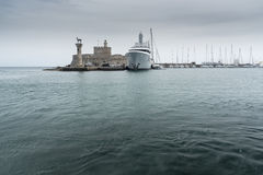 Rhodes town Harbour harbor entrance Mandraki Port Stock Photography