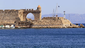 Rhodes Town, Harbour of Mandraki Stock Photos