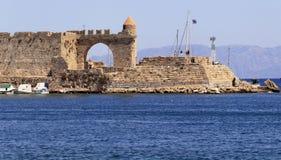 Rhodes Town, Harbour of Mandraki Stock Photos
