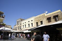 Rhodes town is a walled city. This is Hippocrates Square in the old city royalty free stock photo
