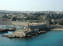 Rhodes Walls. Rhodes fortification walls - October - Greece Royalty Free Stock Photos