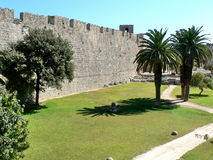 Rhodes walls and garden. Walls of the City of Rhodes. Rhodes, Greece Stock Photo