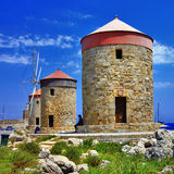 Rhodes windmills. Greece Royalty Free Stock Photos