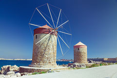 Rhodes windmills Stock Photography