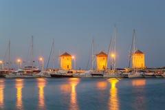 Rhodes Windmills - Wiatraki Rhodes, Greek. Evening View of Rhodes Windmills - Wiatraki Rhodes, Greek royalty free stock image