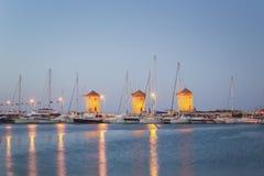 Rhodes Windmills - Wiatraki Rodas, griega fotos de archivo libres de regalías