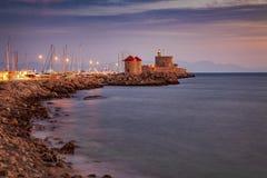 Rhodes wschód słońca grodzki krajobraz obrazy royalty free