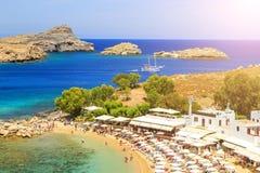 Rhodes wyspa - sławna dla historycznych punktów zwrotnych i pięknych plaż Grecja zdjęcie royalty free