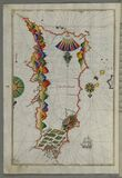 Rhodes (Rodos, Rudūs) Island from Book on Navigation, Walters Art Museum Ms. W.658, fol. 103a Royalty Free Stock Photo