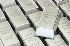 Rhodium ingots background, 3D rendering Royalty Free Stock Photo