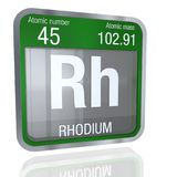Rhodium symbol in square shape with metallic border and transparent background with reflection on the floor. 3D render. Element number 45 of the Periodic Table vector illustration