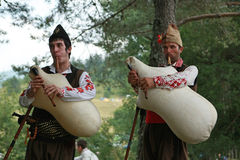 Rhodope pipers playing Stock Image
