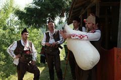 Rhodope pipers playing Stock Photo