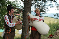 Rhodope pipers playing Stock Photos