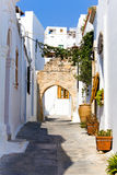 Rhodos. Alley with houses in Rhodos - Greece stock photography