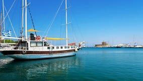 Rhodos, Grecja statek - Zdjęcie Stock