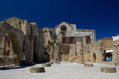 Rhodos Greece architecture buildings historic. Greece Rhodos Lindos Akropolis historic buildings architecture summer nature blue sky stock photos