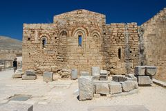 Rhodos Greece architecture historic buildings. Greece Rhodos historic buildings architecture blue sky ruins travel stock images