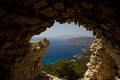 Rhodos Greece architecture historic buildings Castle of Monolithos. Castle of Monolithos Rhodos Greece blue sky sea travel europe ruins ancient stock images