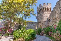 Rhodos, Greece - August 2016: Inner courtyard in the Palace of the Grand Master of Knights, after the grand Gate d'Amboise, in. Rhodes, Rhodes island stock photography