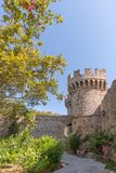 Rhodos, Greece - August 2016: Inner courtyard in the Palace of the Grand Master of Knights, after the grand Gate d'Amboise, in. Rhodes, Rhodes island royalty free stock images