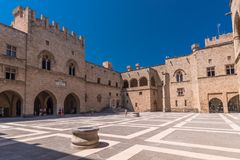 Rhodos, Greece - August 2016: Main courtyard of the Palace of the Grand Master of the Knights of Rhodes Kastello, Rhodes island.  stock photography