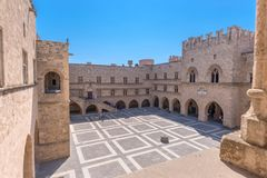 Rhodos, Greece - August 2016: Main courtyard of the Palace of the Grand Master of the Knights of Rhodes Kastello, Rhodes island.  royalty free stock photos