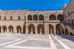 Rhodos, Greece - August 2016: Main courtyard of the Palace of the Grand Master of the Knights of Rhodes Kastello, Rhodes island.  royalty free stock photography