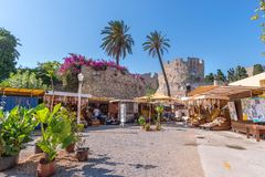 Rhodos, Greece - August 2016: Main entrance in the Palace of the Grand Master of the Knights of Rhodes Kastello, a medieval. Castle in the city of Rhodes, on royalty free stock photography