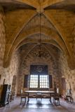 Rhodos, Greece - August 2016: One of the main chambers of the Palace of the Grand Master of the Knights of Rhodes Kastello,. Rhodes island royalty free stock photography