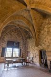 Rhodos, Greece - August 2016: One of the main chambers of the Palace of the Grand Master of the Knights of Rhodes Kastello,. Rhodes island stock photo