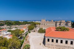 Rhodos, Greece - August 2016: Panorama of the Palace of the Grand Master of the Knights of Rhodes Kastello, Rhodes island, and. The Aegean Sea in the background royalty free stock photo