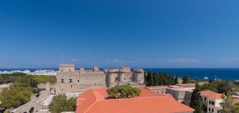 Rhodos, Greece - August 2016: Panorama of the Palace of the Grand Master of the Knights of Rhodes Kastello, Rhodes island, and. The Aegean Sea in the background stock images