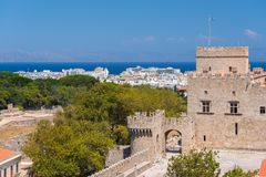 Rhodos, Greece - August 2016: Part of the Palace of the Grand Master of the Knights of Rhodes Kastello, Rhodes island, and the. Aegean Sea in the background stock photography