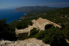 Rhodos Greece historic architecture castle of Monolithos ruins. Castle of Monolithos Rhodos Greece blue sky sea travel europe ruins ancient royalty free stock image