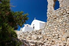 Rhodos Greece historic buildings architecture castle of Monolithos ruins Royalty Free Stock Photos