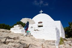 Rhodos Greece historic buildings architecture castle of Monolithos ruins. Castle of Monolithos Rhodos Greece blue sky sea travel europe ruins ancient stock image
