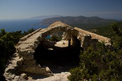 Rhodos Greece historic buildings architecture castle of Monolithos ruins Royalty Free Stock Photo