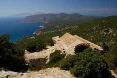 Rhodos Greece historic buildings architecture castle of Monolithos ruins. Castle of Monolithos Rhodos Greece blue sky sea travel europe ruins ancient royalty free stock images