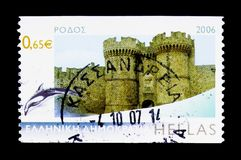 Rhodos, Greek Islands serie, circa 2006. MOSCOW, RUSSIA - MARCH 18, 2018: A stamp printed in Greece shows Rhodos, Greek Islands serie, circa 2006 stock photo