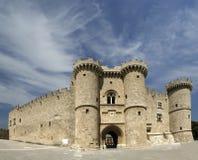 Rhodos-mittelalterliches Ritter-Schloss, panoramische Ansicht Stockbild