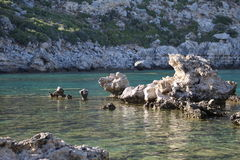 Rhodos rocky beach. Ideal for diving Stock Photography