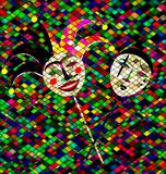 Rhombas background with masks clowns. Abstract colored background image of two masks clowns consisting of lines and cubes Royalty Free Stock Images