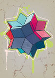 Rhombic hexecontahedron with hand drawn hatching. Royalty Free Stock Image